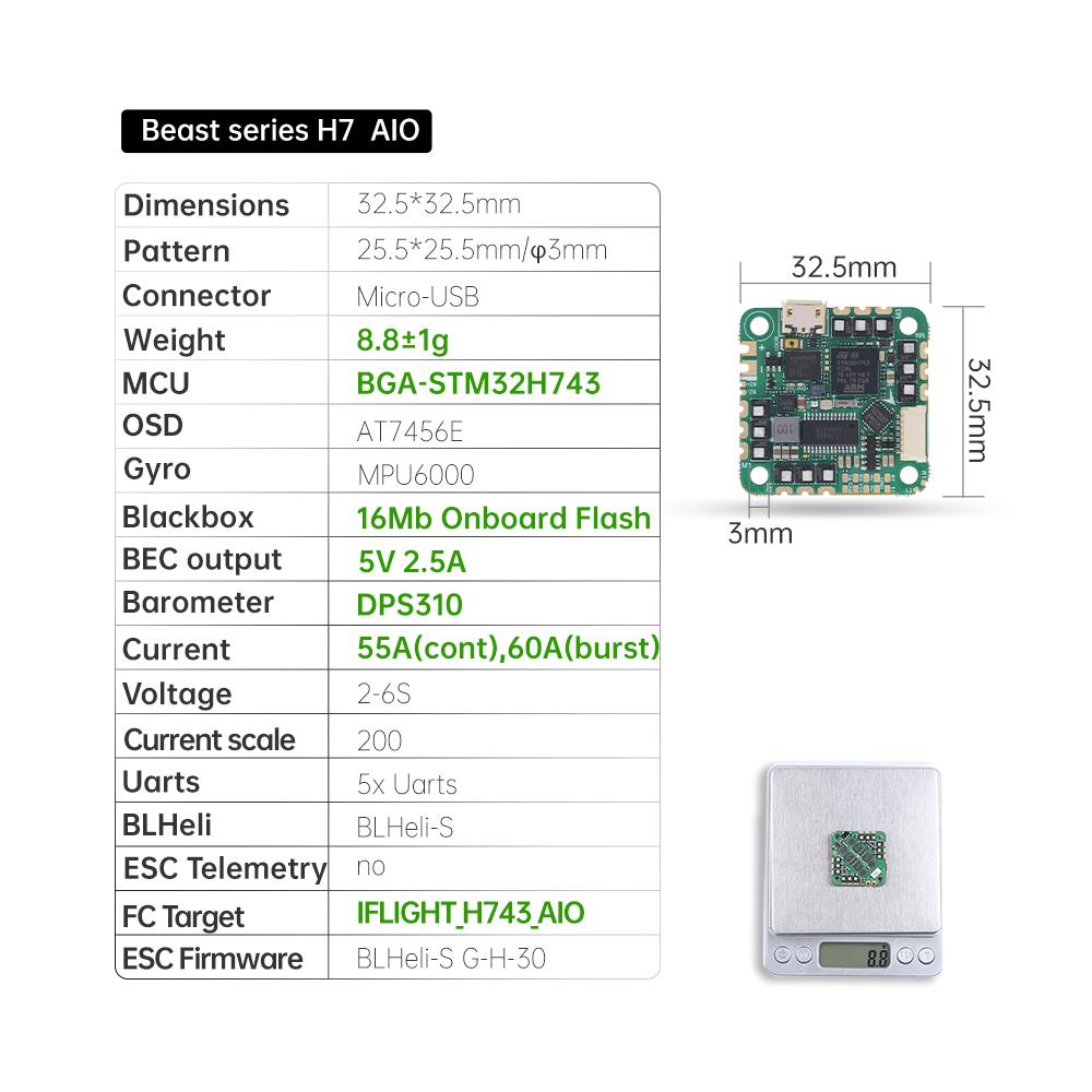 Drones.bg Полетен контролер Beast H7 55A AIO (MPU6000) 25.5x25.5